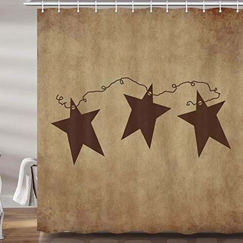 Vintage Rustic Iron Stars Shower Curtains for Bathroom, Western Country Texas Star Fabric Shower Curtain Set, Primitive Americana Bathroom Accessories Decor 12 Hooks Included (69' W X 72' H)
