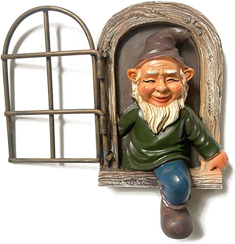 Elibeauty Garden Gnome Statue Ornaments for Outdoor Enthusiasts - 15cm Elf Out the Door Tree Hugger, Gnome Figurines, Tree Sculpture Indoor Decoration and Gift