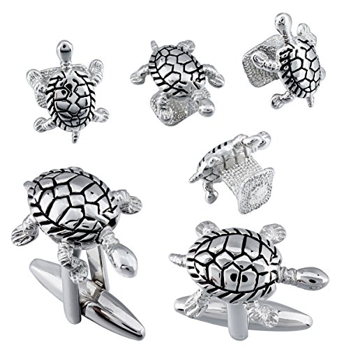 HAWSON Mens Novelty Cufflinks and Studs Set for Tuxedo Siver Turtle Shape - Best Gift for Boys