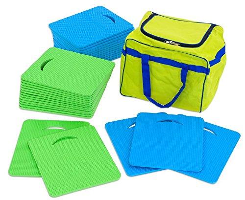 Betzold 55585 - Sitzmatten-Set Kinder inkl. Aufbewahrungstasche 15 grüne und 15 Blaue Sitzkissen latexfrei - Outdoor