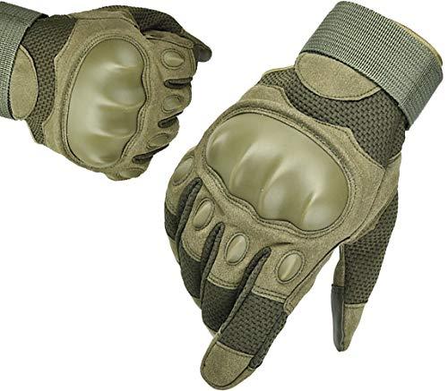 Guantes Moto Pantalla Táctil Transpirable Entretiempo Guantes Militares Tacticos Deportivos Verano Hombres para Moto Ciclismo Deportes Escalada Fitness(Verde Militar,L)