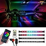 Auxbeam Car LED Strip Lights Interior with APP Bluetooth & Remote Control, Automotive Neon Accent Light Kits, RGB Rainbow Multicolor DIY Mode Music Sync