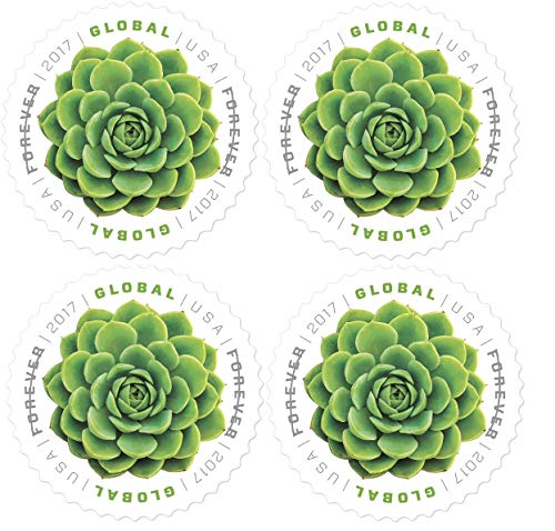 Global Green Succulent Forever Stamps Always Good for 1 Oz International First Class Mail - Block of 4 Stamps