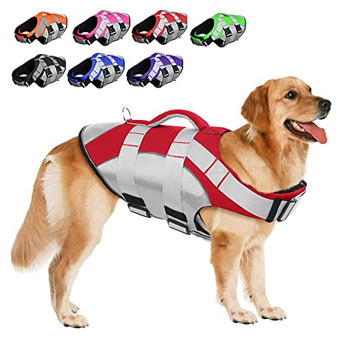 SUNFURA Pet Life Jackets, Summer Dog Float Coat with Reflective Strips and Rescue Handle, Adjustable Ripstop Pet Life Vest for Small, Medium, Large Dogs(Red,XL)