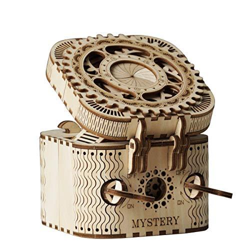ROBOTIME Modelos mecánicos Kits Treasure Box - Puzzle de Madera 3D Laser-Cut Brain Teaser