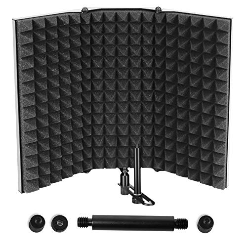 Microphone Isolation Shield Professional Studio Recording Equipment for Sound Booth High Density Absorbing Foam Front amp Vented Metal Back Plate to Filter vocal Suitable for Blue Yeti and Other Mic