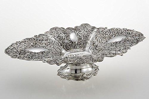 ROYAL QUEEN Ovale Obstschale in Silber gemeißelt Sheffield-Stil cod.5133528 cm 49,5x27,5x12,5h by Varotto & Co.