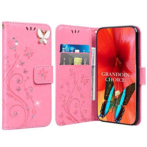 GrandoinChoice für Huawei Honor Play 8A / Y6 Pro 2019, Bling Glitzer Handyhülle im Brieftasche-Stil [Diamant-Serie] PU Leder Ledercase Flip Tasche Wallet Tasche Handytasche Cover Etui Hülle (Hell-Pink)