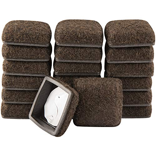 Super Sliders 1 1/4' Square Secure Grip Formed Felt Furniture Movers for Hard Surface Flooring, Brown, 20 Piece