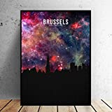WSHIYI Bruselas Starry City Skyline Canvas Painting Wall Art Print Modern Poster Wall Pictures Living Room Decor-50x70cm sin Marco