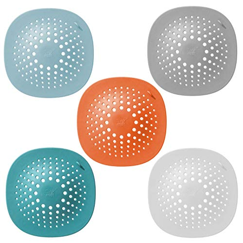 Mirrwin Silikon-Abflussschutz Waschbecken Sieb Abflussabdeckung für Küche Abflusssiebe Haarsieb für Bad und Küche Geeignet für die Entwässerung von Waschbecken in Bad und Küche 5-Teiliges Set