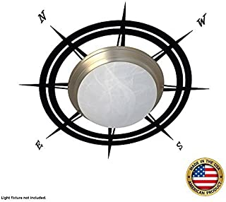 Nautical Compass ceiling cecal, wall decals - Nautical nursery decor for boys, girls, baby (fits all ceiling fixtures of diameter 5 to 16 inches)