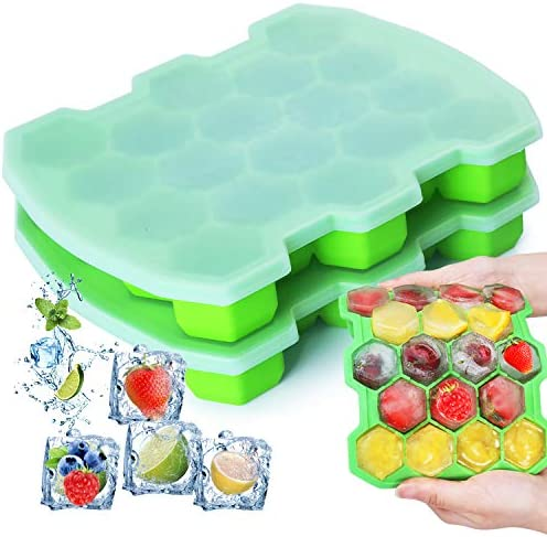 Silicone Ice Cube Trays with Lid KIPRITII Upgrade 2 Packs Ice Trays Molds with Sealed Lids and product image