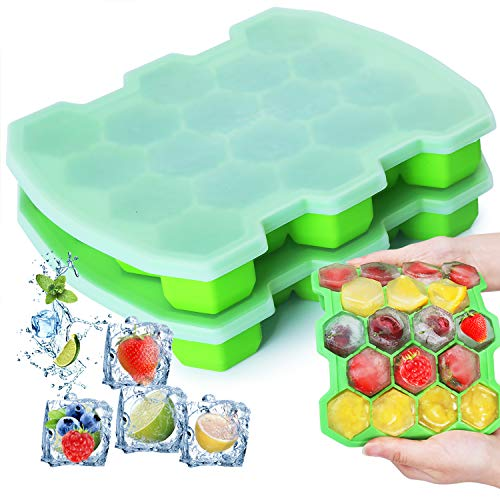 Silicone Ice Cube Trays with Lid - KIPRITII Upgrade 2 Packs Ice Trays Molds with Sealed Lids and Separate Pockets (Green)