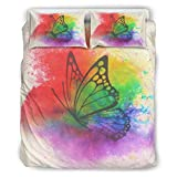 Juego de cama de marca genérico, diseño de mariposas y salpicaduras, color blanco arrugado de 167,6 x 228,6 cm