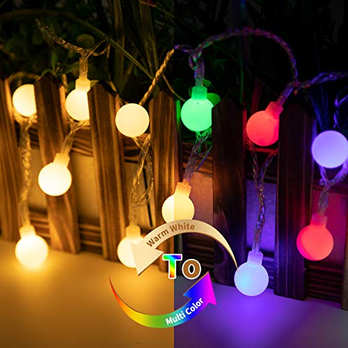 33Ft 100 LED Globe Ball String Lights, USB End + Power Adapter Fairy String Lights Plug in, 8 Modes with Remote, Decor for Indoor Outdoor Party Wedding Christmas Tree Garden, Warm White + Multicolored