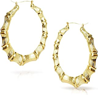Gold Plated Round Bamboo Hoop Pincatch Earrings-3.5 Inches