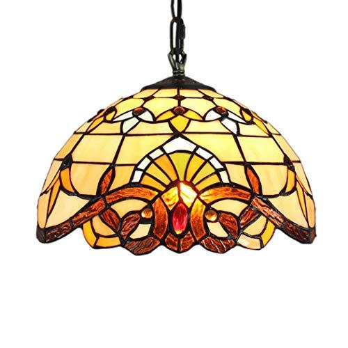 HJY * Simplicidad en el Hogar * Lámpara de Techo Europea Retro Creativa Tiffany Iluminación de Vidrieras Sala de Estar Comedor Dormitorio Lámpara de Araña Barroca Iluminación 12 Pulgadas, 30 Cm30 cen