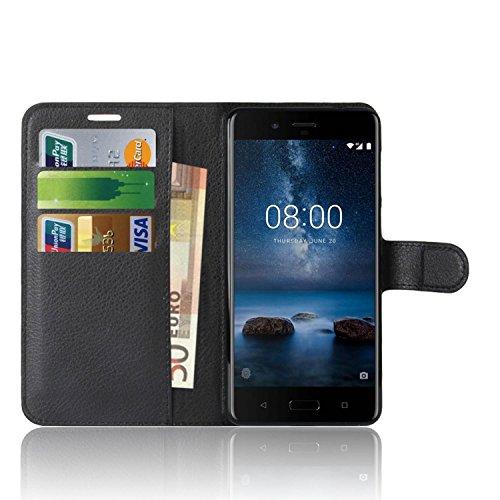 Nokia 8 Custodia, Anzhao Flip Cover Portafoglio con Slot per Schede Protettiva Custodia in Pelle per Nokia 8 (Nero)