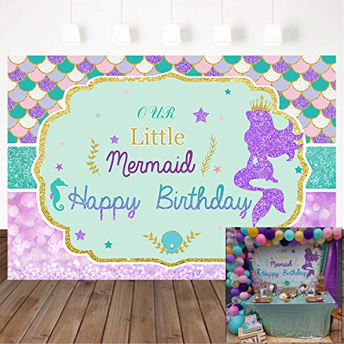 Mehofoto Crowned Mermaid Backdrop 7x5ft Under The Sea Mermaid Scales Vinyl Background Glitter Bokeh Newborn Baby Children Birthday Party Decoration Supplies