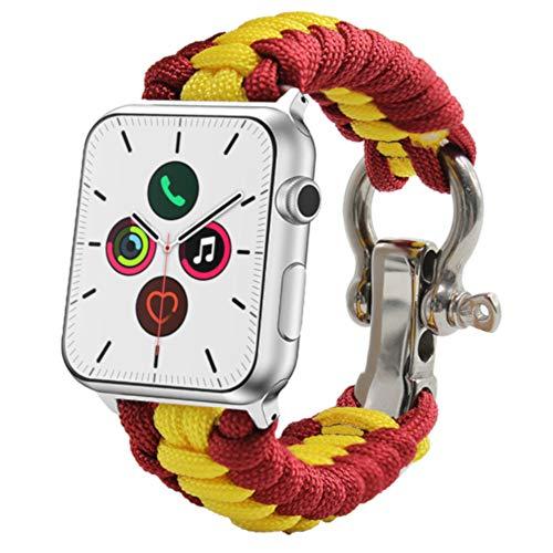 ESTUYOYA - Pulsera Compatible con Apple Watch de Cuerda de Nailon Bandera de España Cierre de Seguridad Acero Inoxidable para Aventura 42mm 44mm Series 6/5 / 4/3 / 2/1 / SE