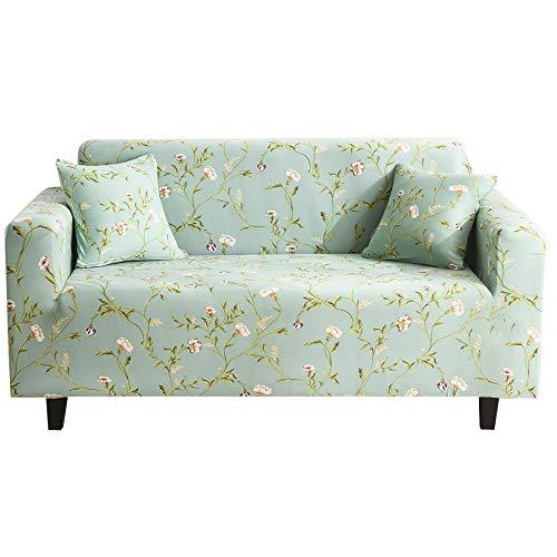 Funda Sofá 4 Plazas Plantas Verdes Impresión Universal Cubierta de Sofá Funda de Sillón Spandex Stretch Cubre Sofá Funda Furniture Protector Antideslizante Sofa Couch Cover 235-300 cm