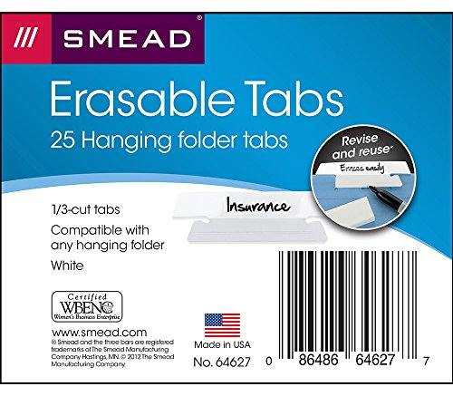Smead Erasable Hanging File Folder Tabs, 1/3-Cut, White, 25 per Pack (64627)