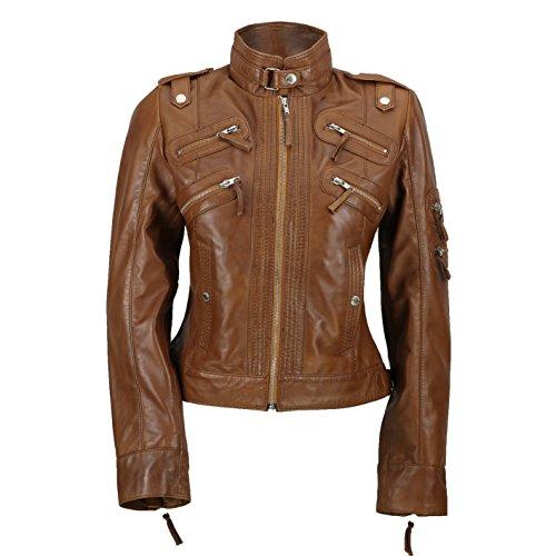 Xposed Chaqueta estilo motorista con cremallera suave para mujer, color negro, marrón