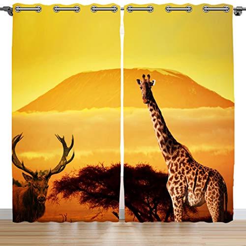 Violetpos 160 x 110 cm Heiße Wüste Afrika Giraffe Rotwild Gardinen Blickdichter 2er Set Vorhang Verdunkelung mit Ösen für Schlafzimmer Wohnzimmer