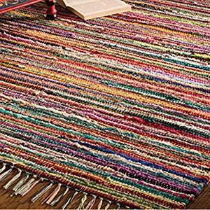 Indian Arts, tappeto realizzato con stracci di pezza multicolore intrecciati con telaio a mano, 100% materiali riciclati, commercio equo e solidale, Tessuto, Multi, 150 x 210cm