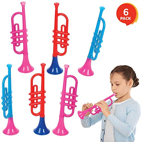 ArtCreativity 13 Inch Plastic Trumpets, Set of 6, Music Toys...