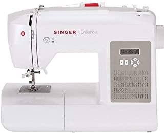 SINGER | Brilliance 6180 Portable Sewing Machine with Easy Threading and Free Arm, White/Gray (Renewed)