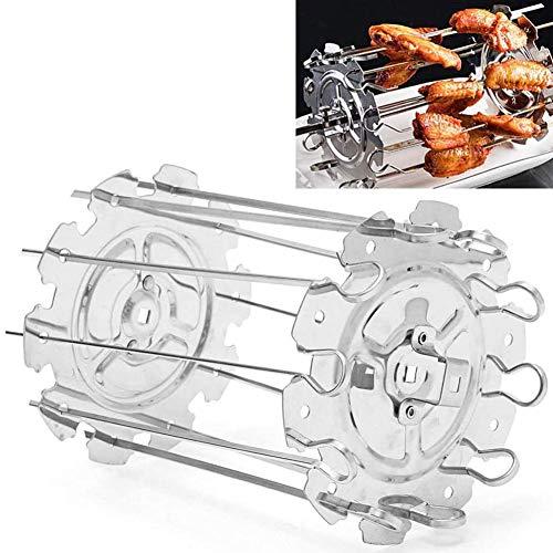 Grille en Acier Inoxydable pour Rondell brochette Barbecue, brochette Universal Rack Rotisserie, 10 brochettes Kebab shish, des côtelettes, du Poisson, de la volaille, Porte-Bagages