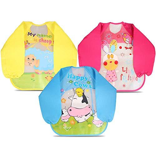 Letilio Baberos - 3 pcs Impermeable delantal de bebé unisexo EVA con manga larga para 6 meses a 3 años edad(3 pzas)