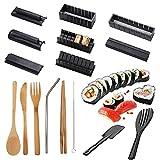 Set per fare sushi,CHENKEE 10 pezzi Kit per fare sushi in plastica fai da te Kit per principianti Stampo con set di bacchette 7 pezzi anche come regalo fai-da-te