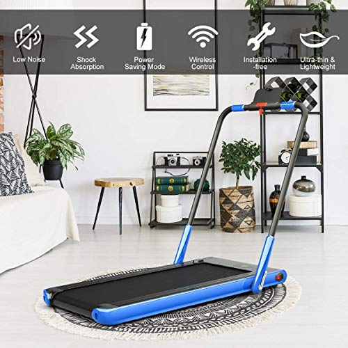 2 in 1 Folding Treadmill, 2.25HP Under Desk Electric Treadmill with Bluetooth Speaker& Remote Control& LED Display, Space Saving Walking Jogging Running Trainer Equipment