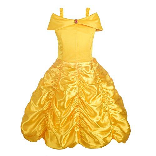 Lito Angels Deguisement Robe Costume Princesse Belle Enfant Fille, Anniversaire Fete Halloween Carnaval, Taille 10-11 ans, Jaune, A