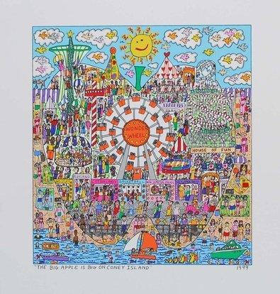 James Rizzi The Big Apple Is Big On Coney Island Probedruck Farblithographie Bild Kunstdruck 35,5x33,5cm - Kostenloser Versand