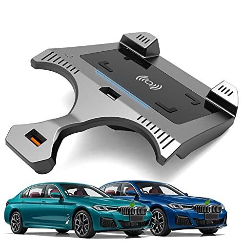 JUSTGJS Accesorios inalámbricos para Cargador de Coche Qi 15W MAX para BMW 5 Series G30 G31 2018 2019 2020 2021 Todos los Modelos, con USB QC3.0 para iPhone 12/11 / XS/X / 8 Samsung S20 / S10 / S9