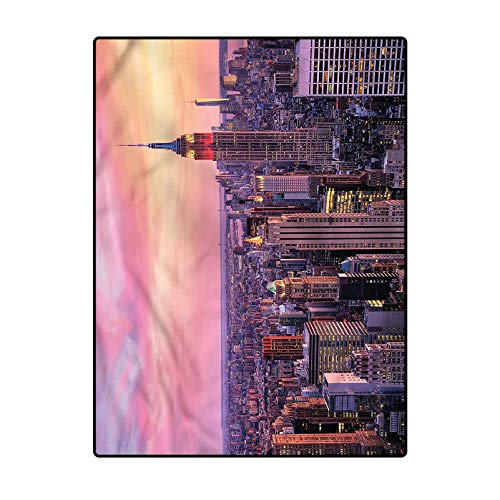Cityscape Classroom Rugs Elementary Contemporary Area Rugs Comfy Bedroom Home Decorate Floor Kids Playing Mat Empire State Building 3 x 5 Ft