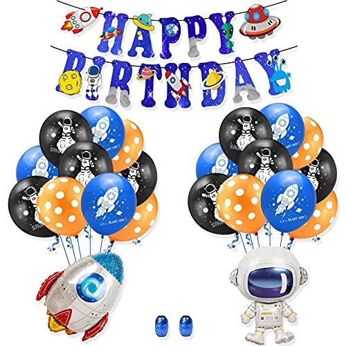 topxingch 20/22 Piezas Decoración De Fiesta De Cumpleaños Juego De Globos De Feliz Cumpleaños Globos De Látex Banner Espacio Astronauta Punto De Cohete para Niños 5