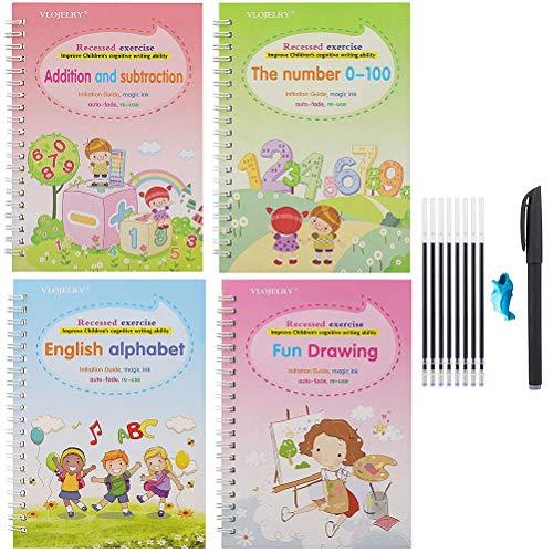 SJTJA Inglés Práctica Cuaderno de Escritura a Mano reutilizada Cuaderno de Búsquedas Libro Conjunto de Kid caligráfico Escritura de Cartas Dibujo Cuaderno Cuaderno Inglés Práctica
