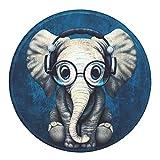 LESHIRYマウスパッド ラウンドマウスマット ノンスリップラバーベースステッチエッジ付き美しいパターンデスクトップマウスパッド 小型7.9 x 7.9 x 0.1インチ (Cute Elephant)