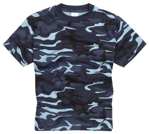 Camiseta 100% Algodón estilo militar. Manga corta. Camuflaje de Medianoche. Talla L