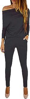 comprar comparacion Yoins - Mono de manga larga para mujer, un solo hombro, elegante, monocromático