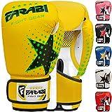 Farabi - guantes de boxeo para niños de 6 oz, guantes de entrenamiento de kickboxing muay thai para entrenamiento de MMA, los mejores guantes para entrenar en saco de boxeo, almohadillas de enfoque para práctica (Yellow, 6-oz)