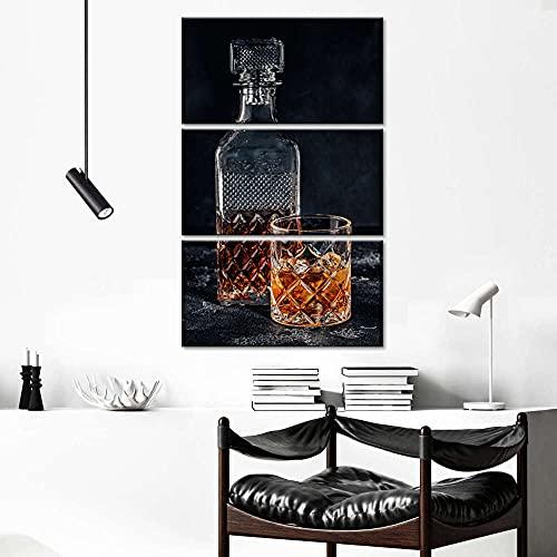 Decoración De Arte De Pared 3 Piezas Imprime En Lienzo Coche Deportivo Vidrio de licor de whisky HD Cuadro Estilo Abstractos Moderna Inicio Decoración Lienzos 108×56 Cm,Listo para Colgar(con Marco)
