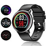 TagoBee Ip67 wasserdichte Smartwatch TB15 intelligente Uhr smartwatch 1.22'' IPS Farbbildschirm Fitness Tracker mit Schrittzähler,Call&SMS Benachrichtigungen kompatibel mit Android&iOS(Schwarz)