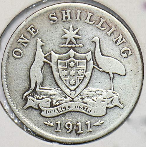 1911 AU Australia 1911 Georgivs V Shilling Kangaroo animal Ostrich VG Silver 901970 DE PO-01