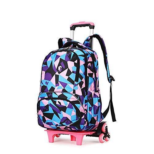 ZHALSA Fahrbarer Rucksack mit großer Kapazität für die Reisekabine, Trolley für die Grundschule, geeignet für Jungen und Mädchen bis hin zu College-Taschen-C